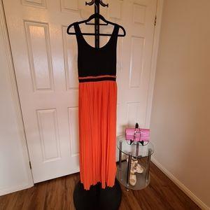Semi Formal Free Size Orange Black Birthday Dress